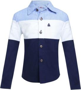 UFO Boy's Solid Casual Blue Shirt