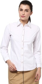 Protext Women's Solid Casual, Formal White Shirt