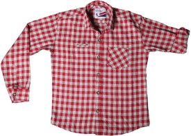 Little Man Boy's Checkered Casual Red Shirt