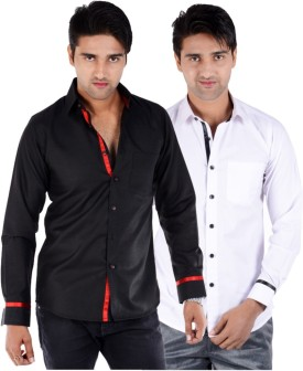 S9 MEN Men's Solid Casual Shirt Pack Of 2