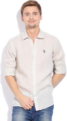 U.S.Polo.Assn Men Solid Casual Linen Shirt