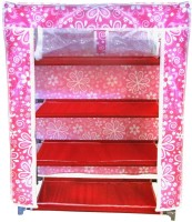 Pindia Polyester Standard Shoe Rack (Pink, White, 4 Shelves)