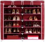 Pindia Fancy 6 Layer Double Maroon Shoe Rack Organizer