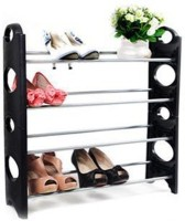 GoHooked Plastic, Aluminium Standard Shoe Rack (Black, 4 Shelves)