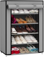 Pindia Fancy Layer Grey Shoe Rack Organizer Polyester Standard Shoe Rack (Grey, 5 Shelves)