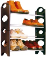 Caryn Carbon Steel, Polypropylene Standard Shoe Rack (Black, 4 Shelves)
