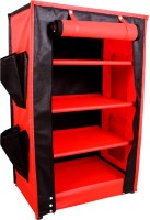 Raunak Designer Almira Stainless Steel Standard Shoe Rack (Red, Black, 4 Shelves)