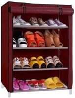 Pindia 4 Layer Shoe Rack Organizer Polyester Standard Shoe Rack (Maroon)