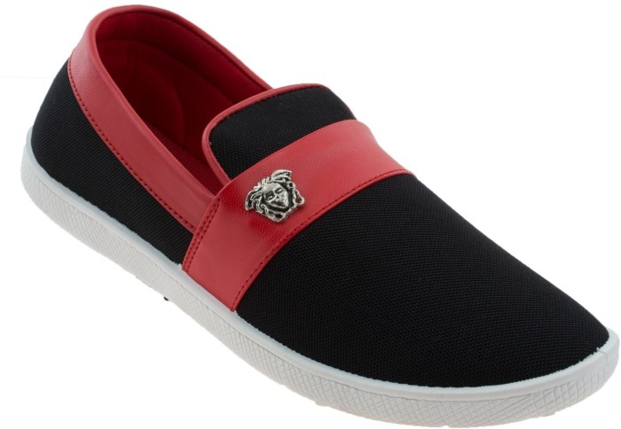 Zovi Black And Red Slip On With Metallic Accessory Casuals