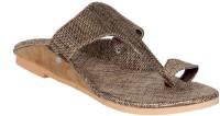 Panahi Brown Jute Rubber Slip On Kolhapuris Casuals, Party Wear Brown
