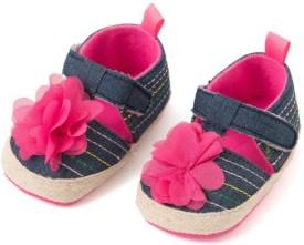 Pikaboo Denim Prewalker Shoes With Flower(9-12 Months) Bellies