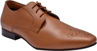 Hirel's Mens Tan Leather Derby Lace Up Shoes