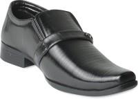 Donner Black Leather Formal Slip On Shoes