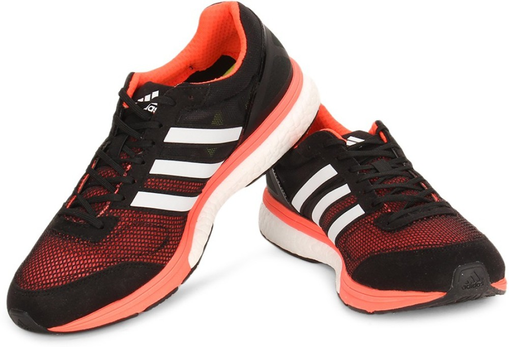 Adidas Men Running Shoes Black Orange