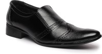 Feather Leather Genuine Leather Black Formal Shoes 032 Slip On Shoes