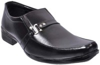 Nonch Le Black Leather Slip On Formal Shoes Men Slip On