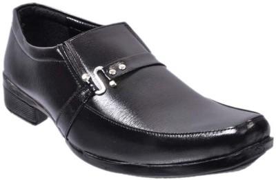 Nonch Le Black Leather Slip On Formal Shoes Men Slip On