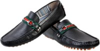 Hirel's Black Leather Driving Loafers