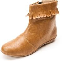 Marc Loire Marc Loire Women's Solid Beige Zipper Boots Boots Beige