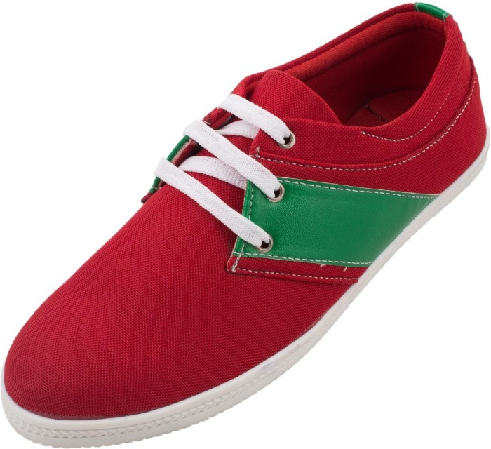 Zovi Red Low Cut With Singular Green Stripe Sneakers