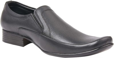 CheX Black Leather Slip On Shoes