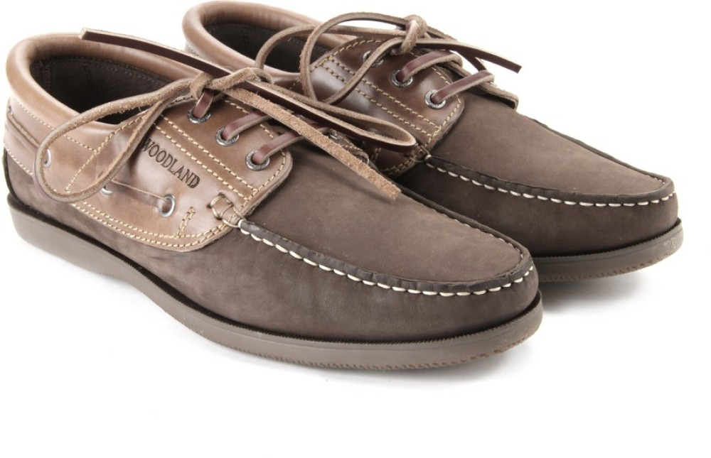 Woodland Men Boat Shoes Brown