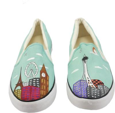 LazyBrats Seattle City Landscape Hand Customised Casual Slipon Shoes Canvas Shoes