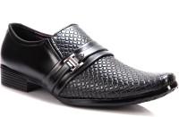 King Step Black Textured Formal Slip On Shoes