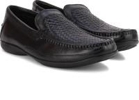 Clarks Finer Weave Black Leather Slip On Black