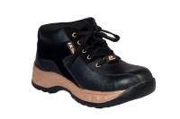 JK PORT Black Faux Leather Safety Shoe Black
