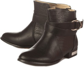 Vero Couture Croc Panelled High Ankle Boots