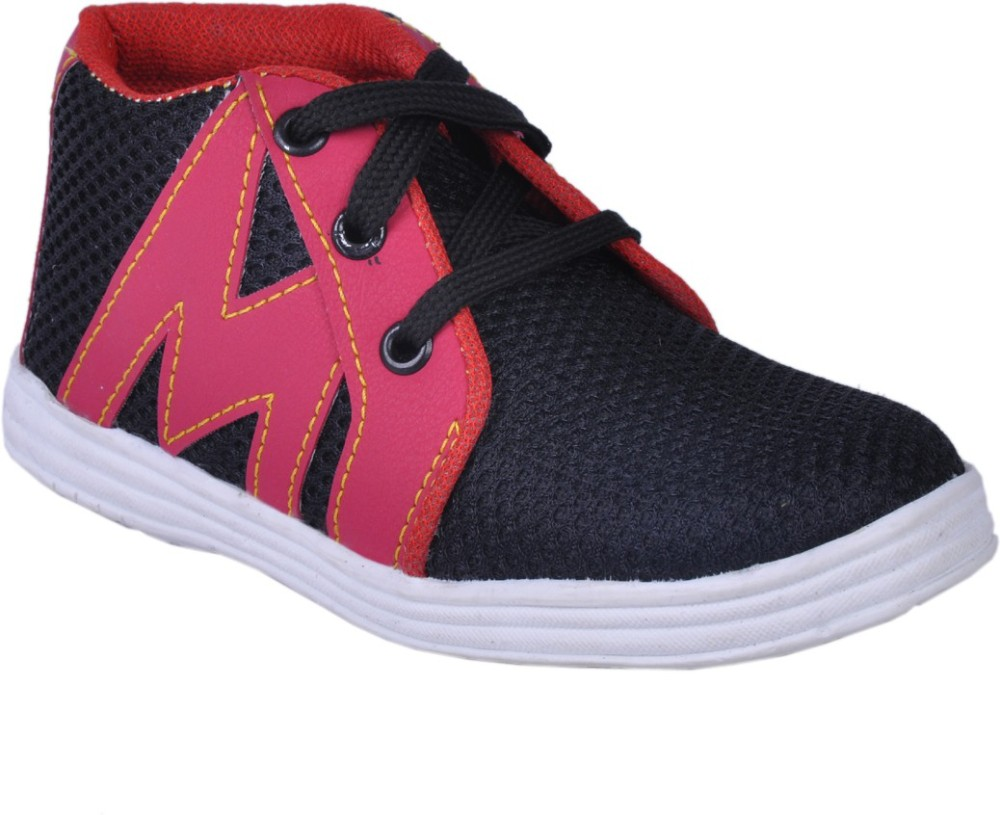 Snappy Black Red Boys Casual Shoes