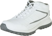 Zovi White High Ankle Sports With Grey Accents Running Shoes