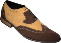 Zovi Tan And Brown Mens Formal Brogue Two Tone Finish Premium Leather Shoes Corporate Casuals