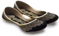 Little India Women Ethnic Black Velvet Fancy Ballerina Sandals 352 Jutis