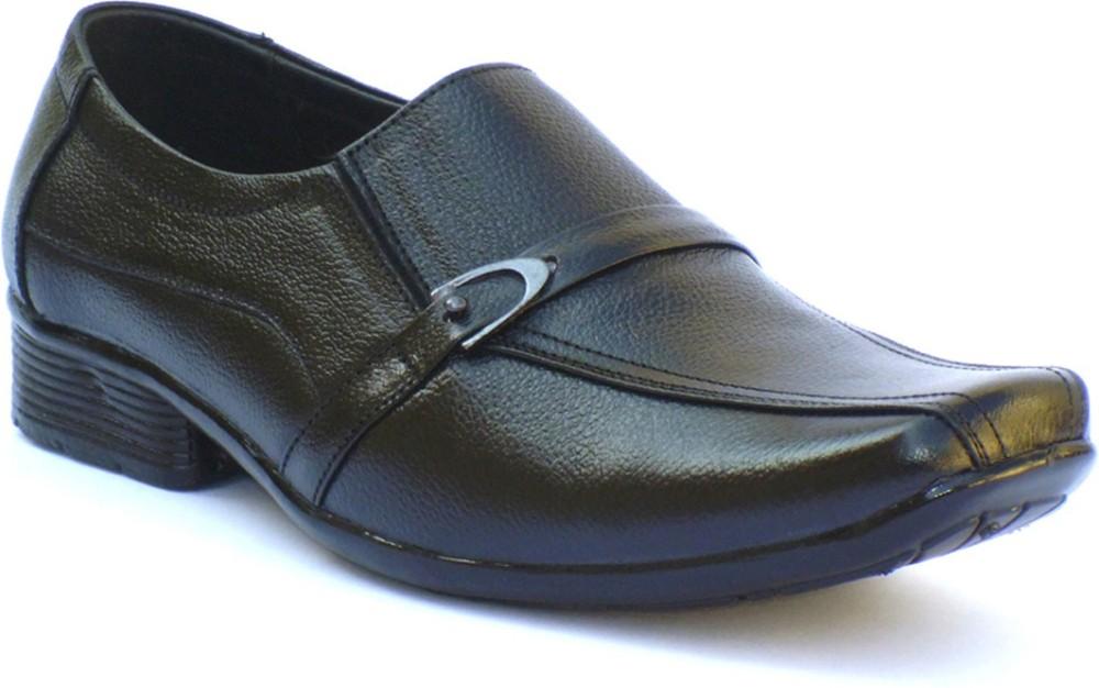 Reveller Black Leather Slip On S...