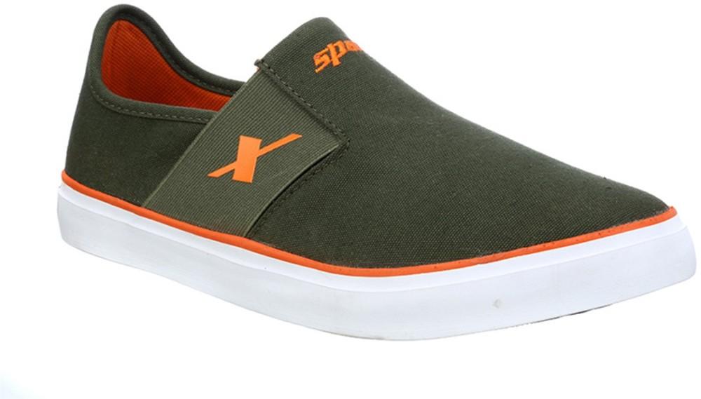 Sparx Stylish Olive Orange Canvas Shoes Olive Orange