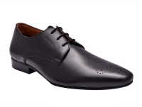 Hirel's Mens Black Leather Derby Lace Up Shoes