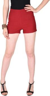 Sassafras Solid Women's Maroon High Waist Shorts
