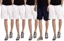 Dee Mannequin Solid Men's White, White, White, White, Dark Blue Basic Shorts