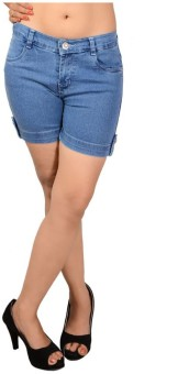 Ganga ANG635E Solid Women's Denim Denim Shorts