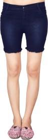 Jiya Solid Women's Dark Blue Denim Shorts