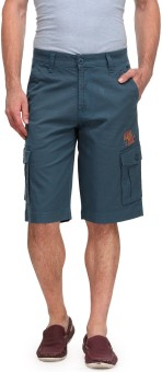 Wear Your Mind Solid Men's Green Cargo Shorts