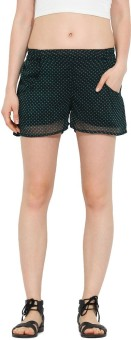 Trend Arrest Polka Print Women's Black Beach Shorts