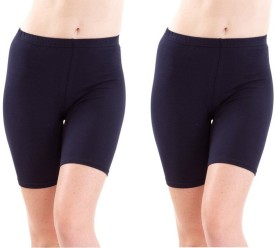 Fashion Line Dark Blue Solid Women's Cycling Shorts