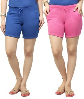 By The Way Solid Women's, Girl's Blue, Pink Basic Shorts, Beach Shorts, Cycling Shorts, Night Shorts