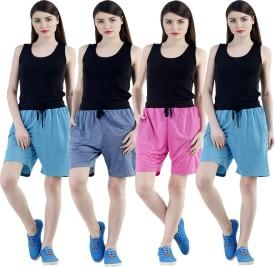Dee Mannequin Self Design Women's Dark Blue, Pink, Blue, Blue Sports Shorts