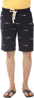 YOO Self Design Men's Dark Blue Basic Shorts