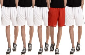 Dee Mannequin Solid Men's White, White, White, White, Red Basic Shorts