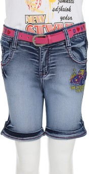 Imple Durable Built Solid Girl's Denim Denim Shorts